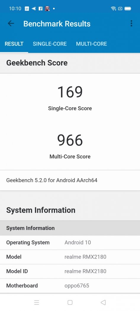 Geekbench performance benchmark - realme C15 (Philippines)