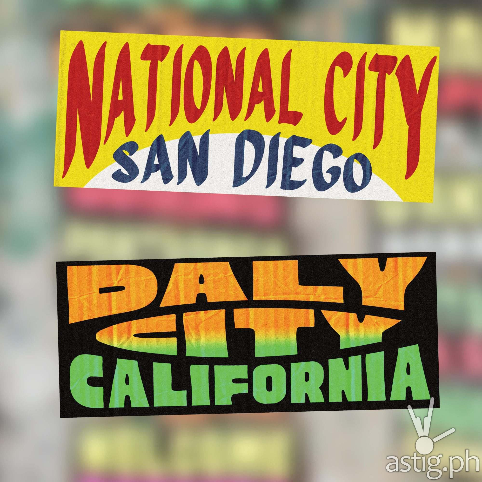 National City, San Diego and Daly City, California - US cities as jeepney signs from the Philippines by Zach Reyes