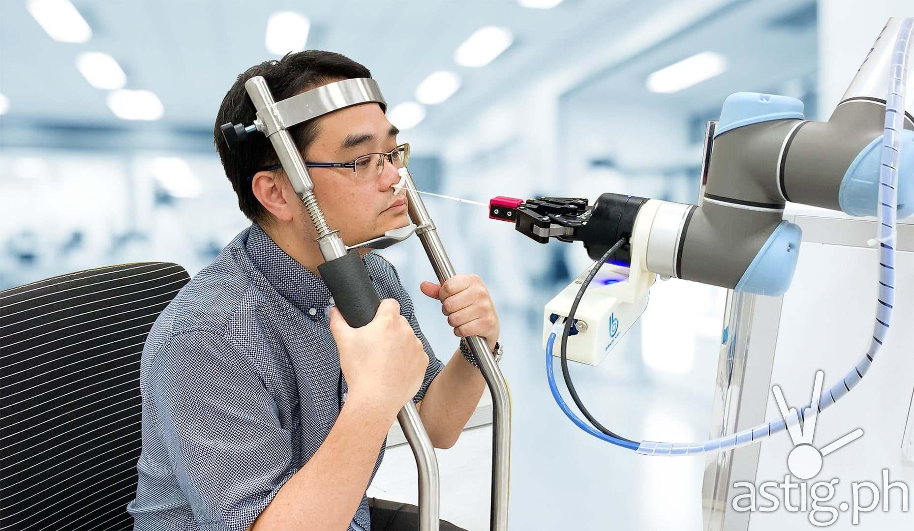 Automated nasal Covid-19 swab test
