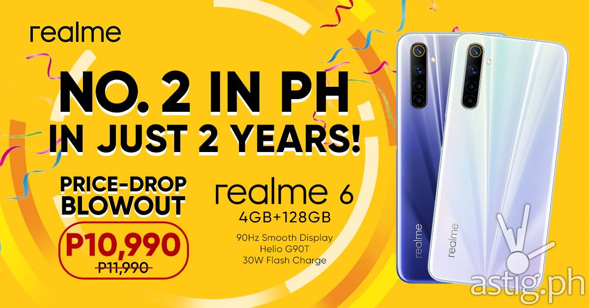 realme is top 2 smartphone brand in PH, celebrates with a price drop on midrange beast realme 6