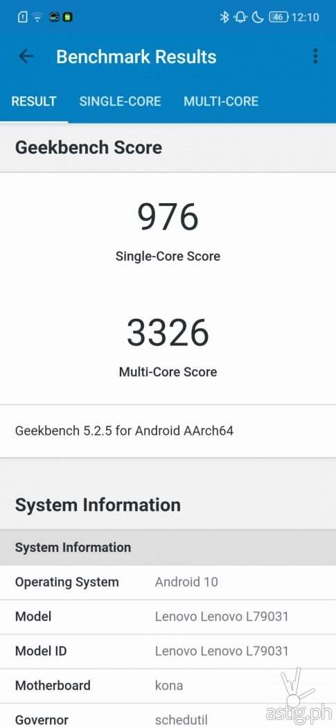 GeekBench Performance Benchmark - Legion Phone Duel