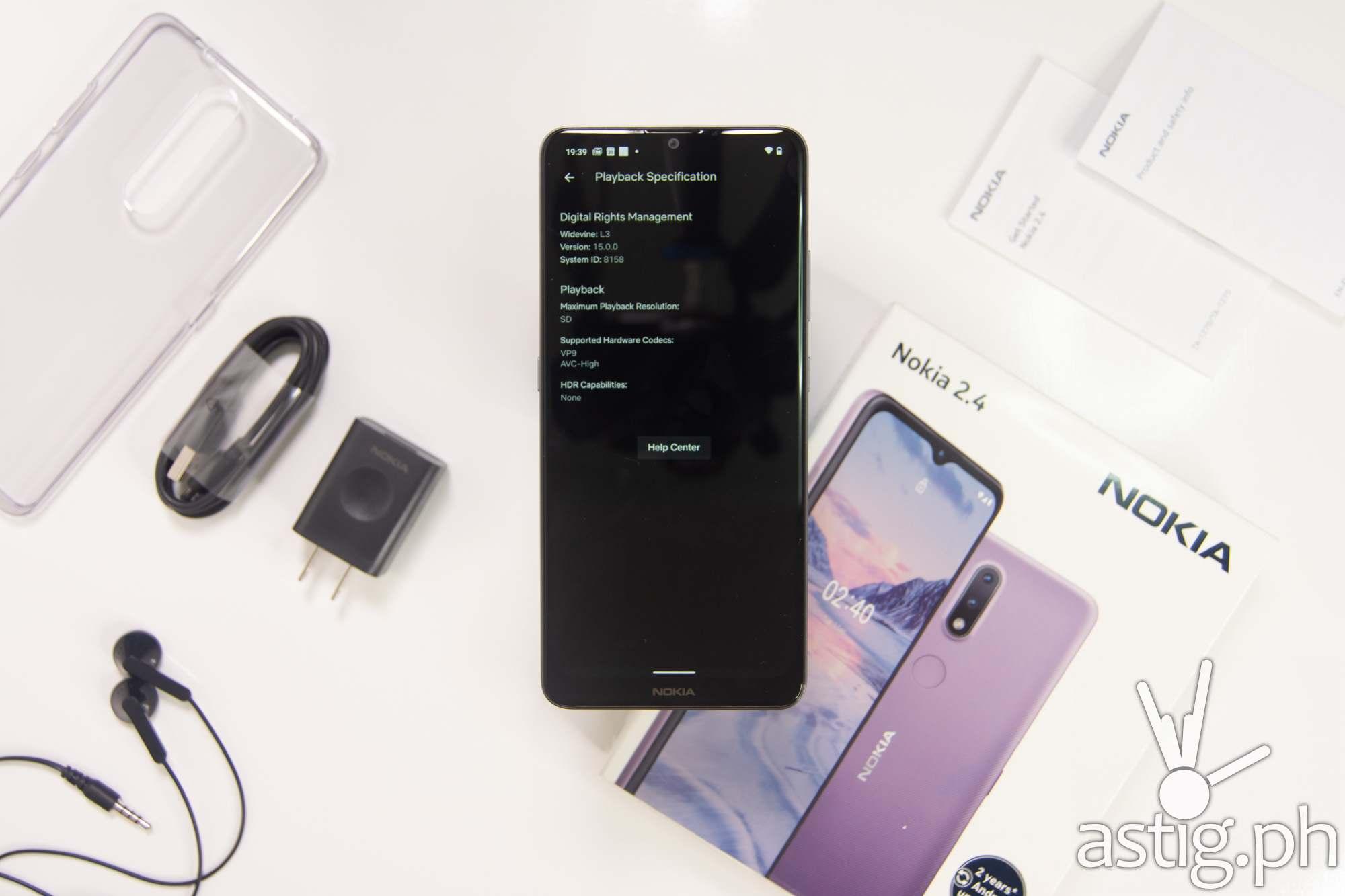Netflix playback specs - Nokia 2.4 (Philippines)
