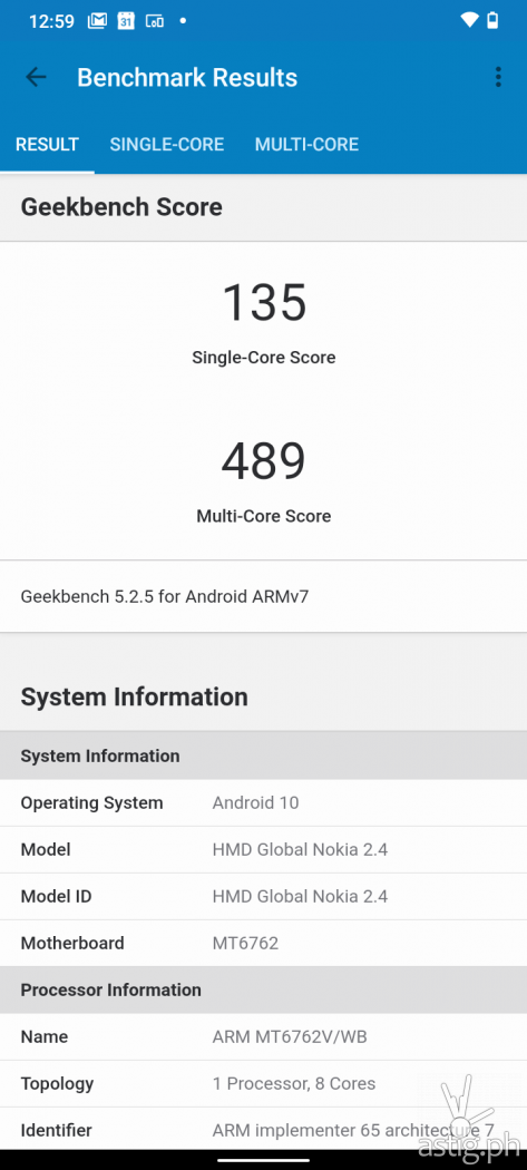 Geekbench performance benchmark - Nokia 2.4 (Philippines)