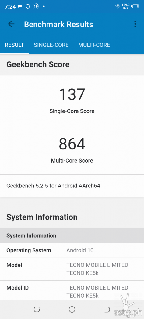 Geekbench performance benchmark results - TECNO Spark 6 Go (Philippines)