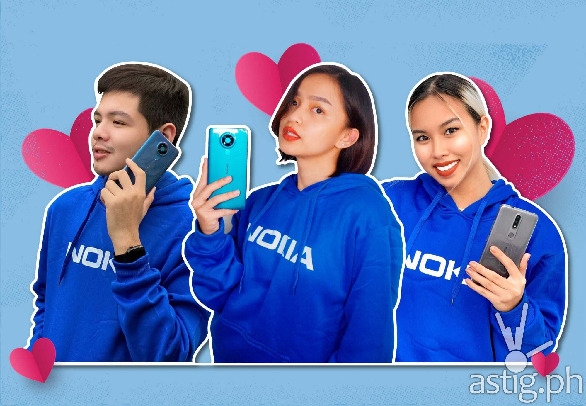 [L-R] Solid Nokia phones fans Heaven John, Ysabella Sabay and Vanessa Navarro showing off their Nokia 2.4 and Nokia 3.4