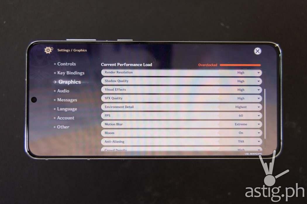 Genshin Impact max graphics settings - Samsung Galaxy S21 Plus 5G (Philippines)