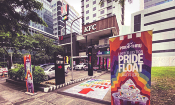 KFC dresses up its store in celebration of Pride.