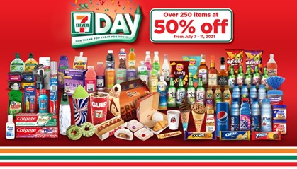 From July 7 to 11, 7-Eleven is slashing 50% off from the original price on over 250 of its signature food items, snacks, liquor, and groceries while other non-food items will also be at 50% off for one-day only on Sunday, July 11