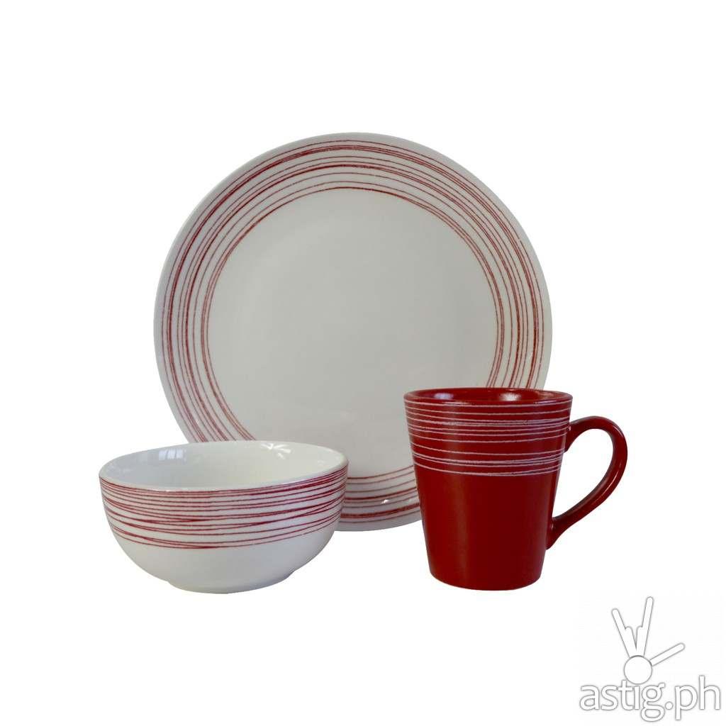 Omega Houseware Aeson 6pc Porcelain Stoneware Plates, Bowl & Cups Dinner Set