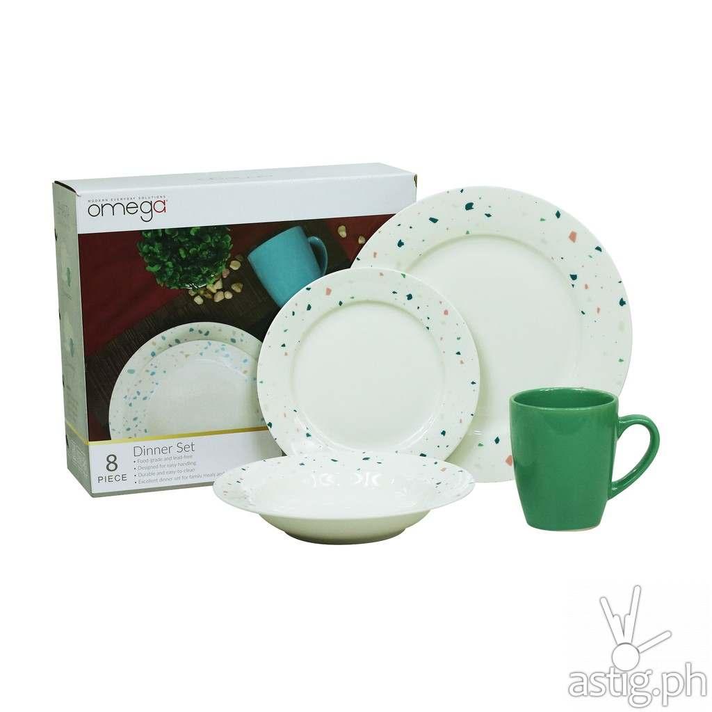 Omega Houseware Shasta 8pc Newbone Dinner Plates, Soup Plates Bowl & Cups Dinner Set